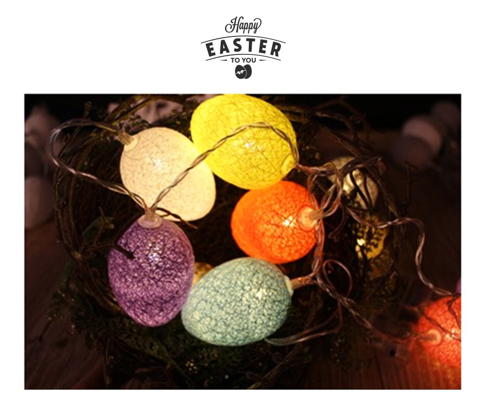 Easter Egg String Lights, Cotton Thread Battery Operated LED String Egg Lamp Home Party Decor 4