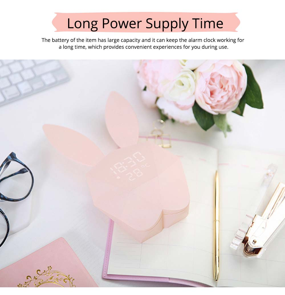 Creative Cute Rabbit Bunny Shaped Intelligent Digital Alarm Clock, Fashion Stylish Luminous Multifunctional Clock Watch with Magnet 3