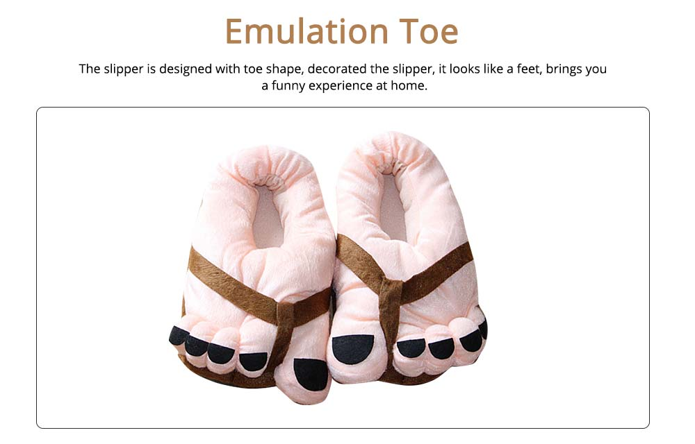 Warm Slipper Feet Shape April Fool's Day Gift for Boy Girl, Plush Material Comfortable Slipper Winter 1