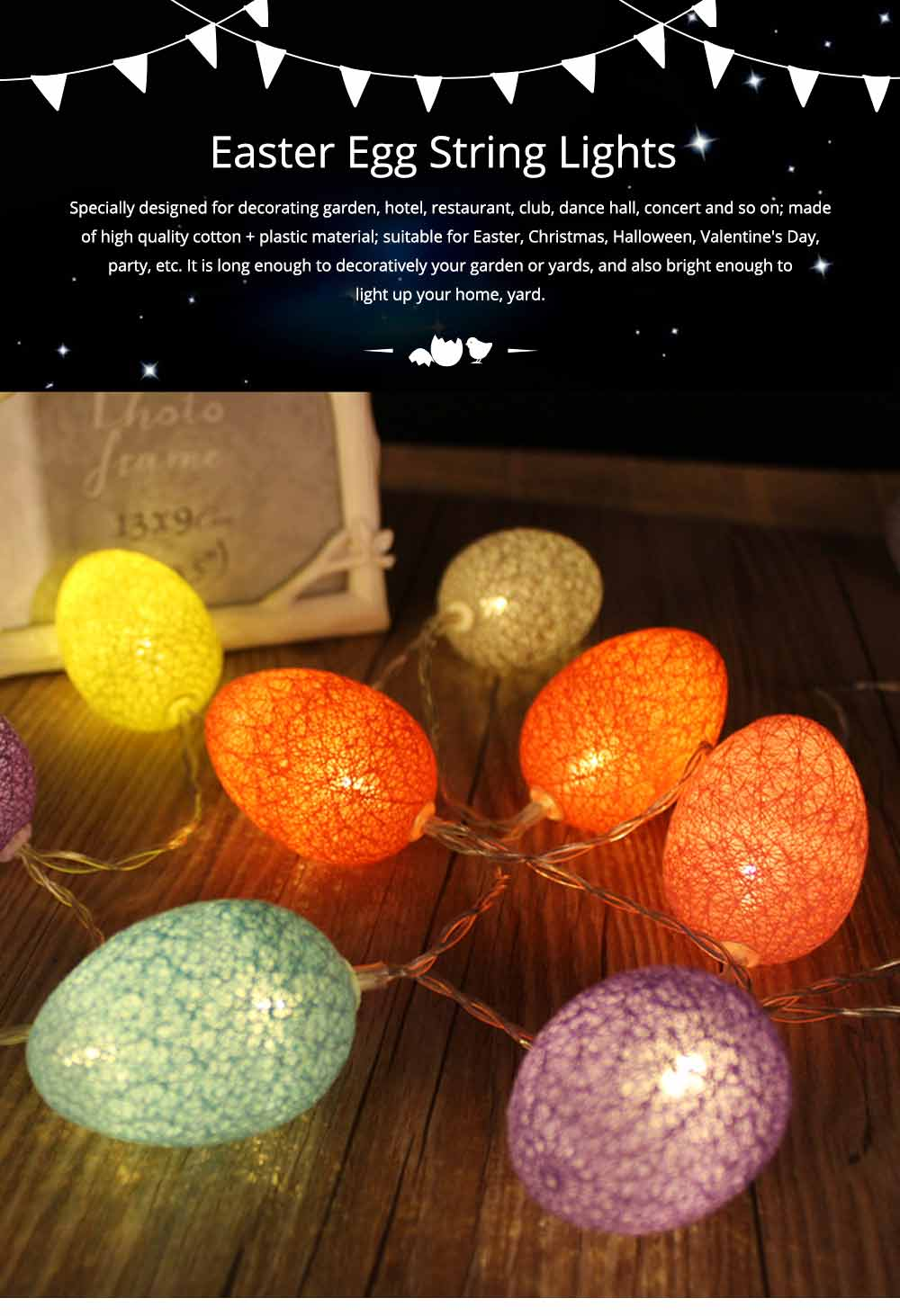 Easter Egg String Lights, Cotton Thread Battery Operated LED String Egg Lamp Home Party Decor 0
