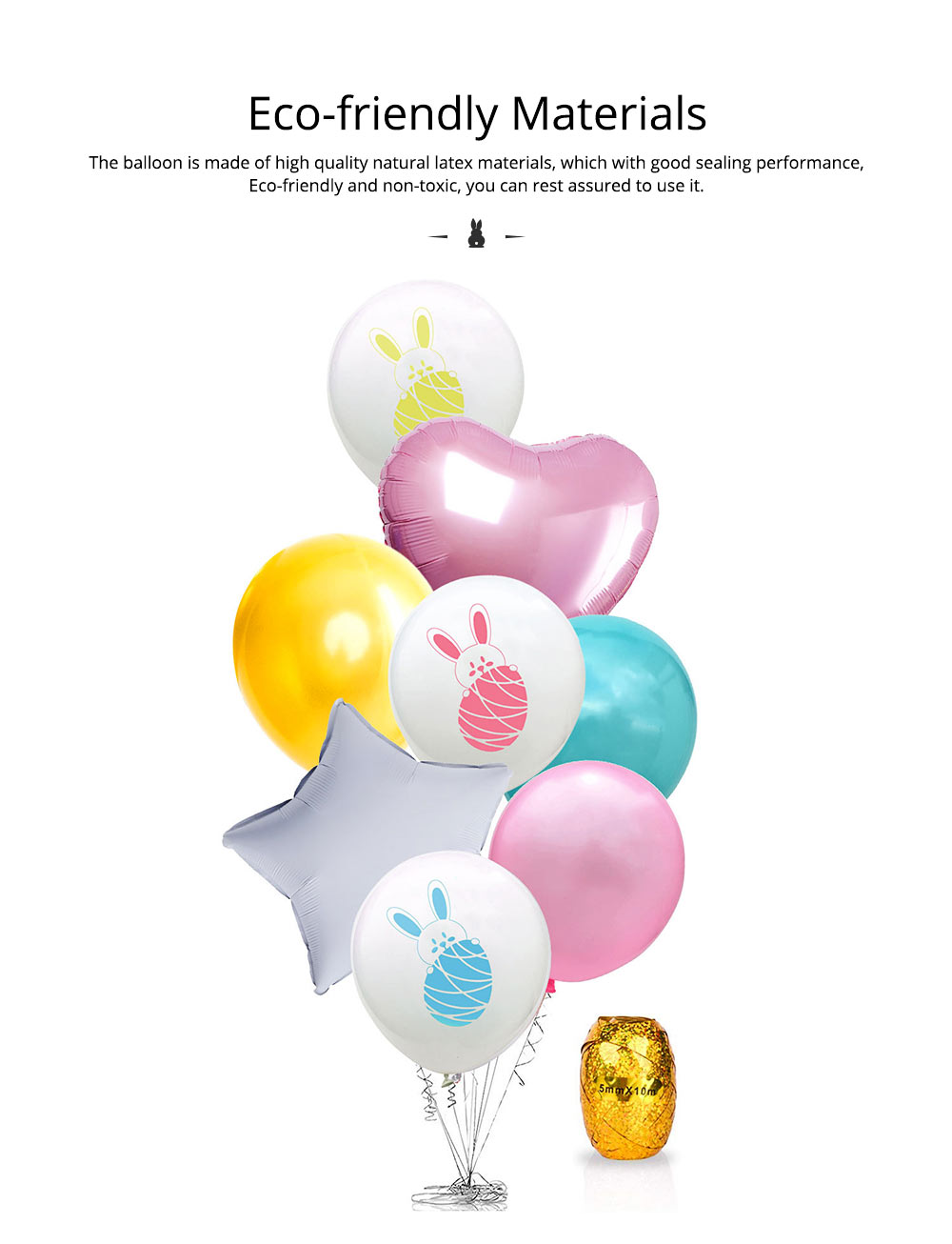 Cartoon Rabbit Printing Latex Balloon, Birthday Party Balloons with Ribbon for Festival Easter Decoration Single or Double Bunch 7
