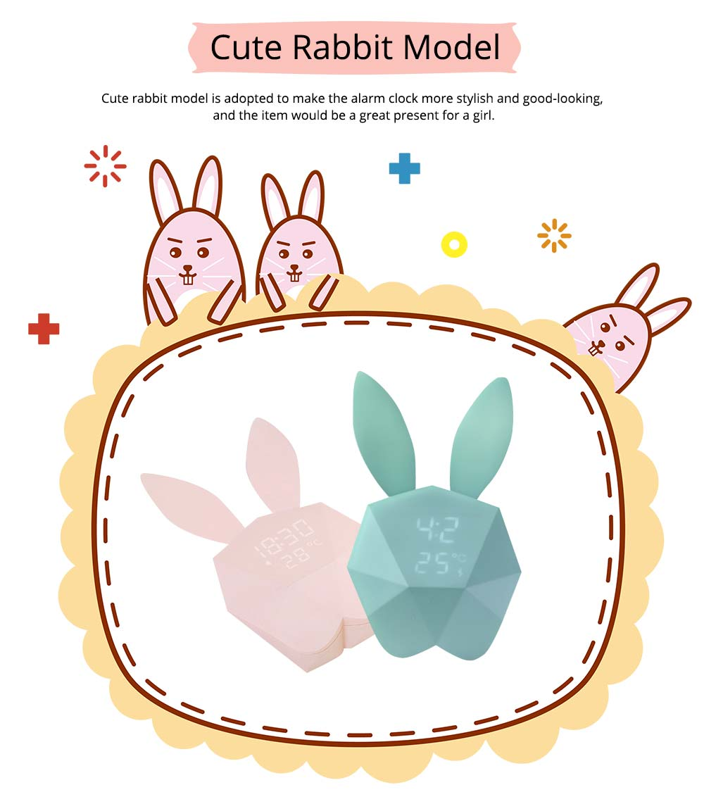 Creative Cute Rabbit Bunny Shaped Intelligent Digital Alarm Clock, Fashion Stylish Luminous Multifunctional Clock Watch with Magnet 4