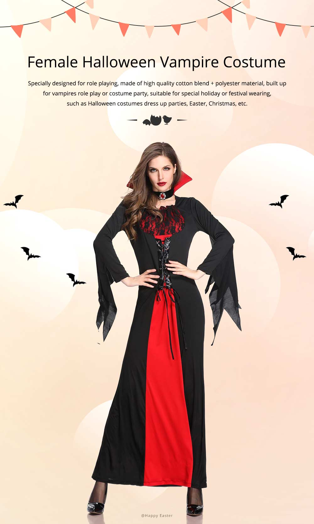 Vampire Costume, Queen Dress for Halloween Easter Christmas, Halloween Costume for Women Adult Cosplay Dress Role Playing Costume 0