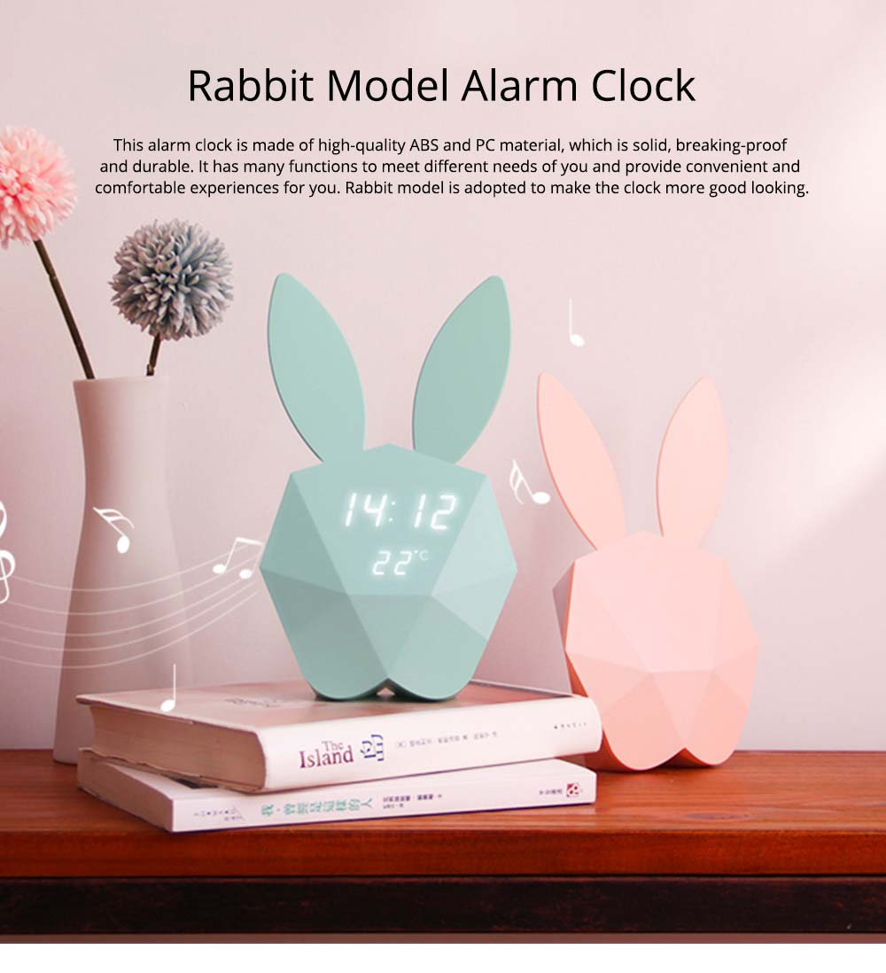 Creative Cute Rabbit Bunny Shaped Intelligent Digital Alarm Clock, Fashion Stylish Luminous Multifunctional Clock Watch with Magnet 0
