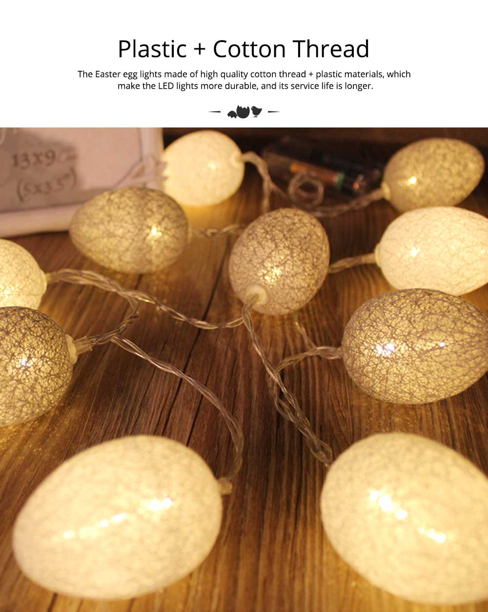 Easter Egg String Lights, Cotton Thread Battery Operated LED String Egg Lamp Home Party Decor 1