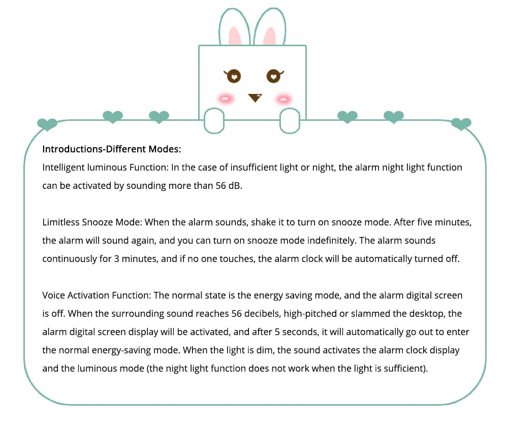 Creative Cute Rabbit Bunny Shaped Intelligent Digital Alarm Clock, Fashion Stylish Luminous Multifunctional Clock Watch with Magnet 7