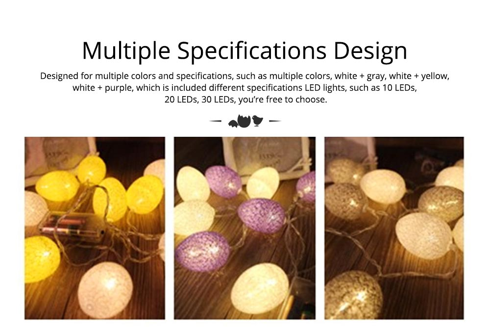 Easter Egg String Lights, Cotton Thread Battery Operated LED String Egg Lamp Home Party Decor 3