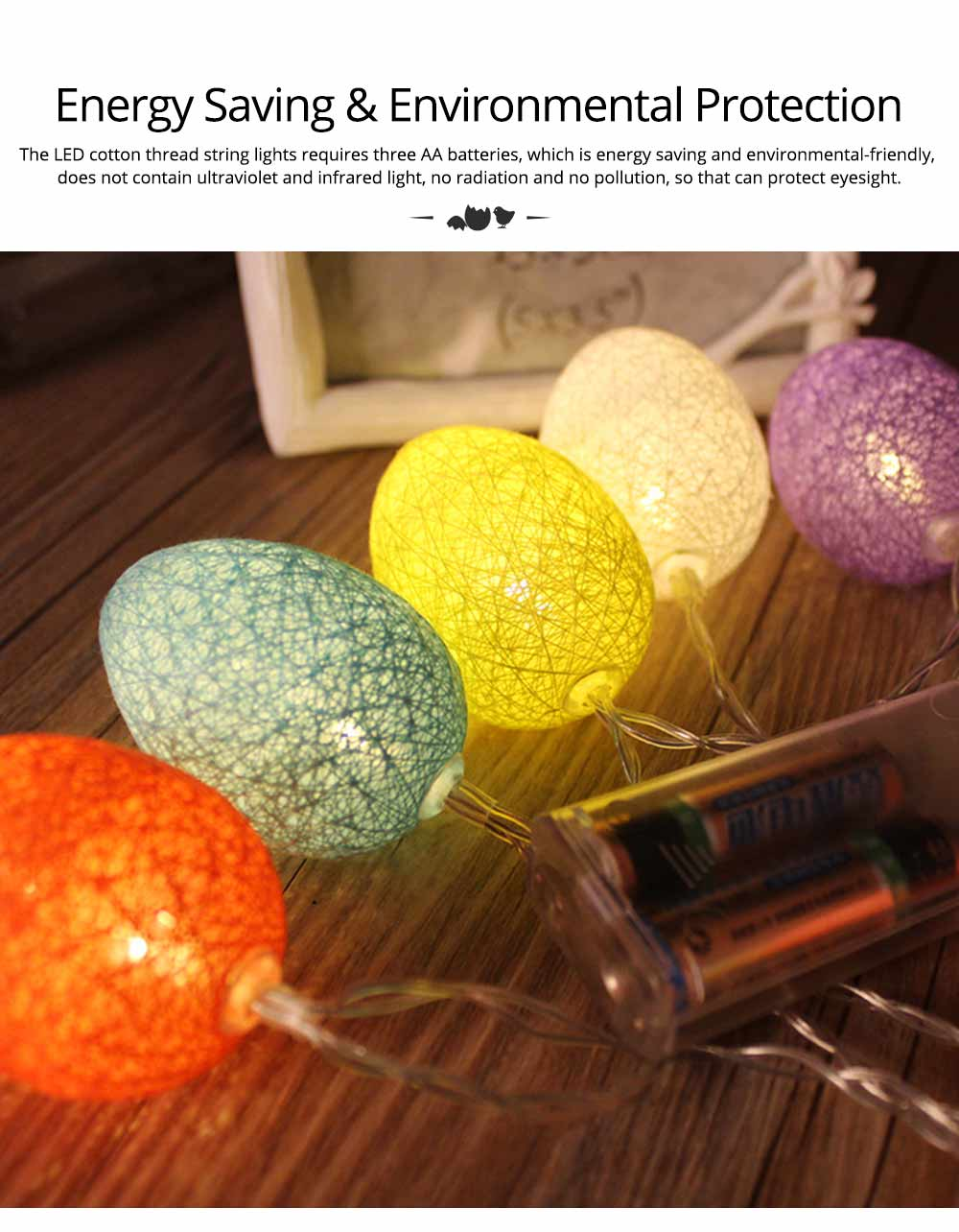 Easter Egg String Lights, Cotton Thread Battery Operated LED String Egg Lamp Home Party Decor 5