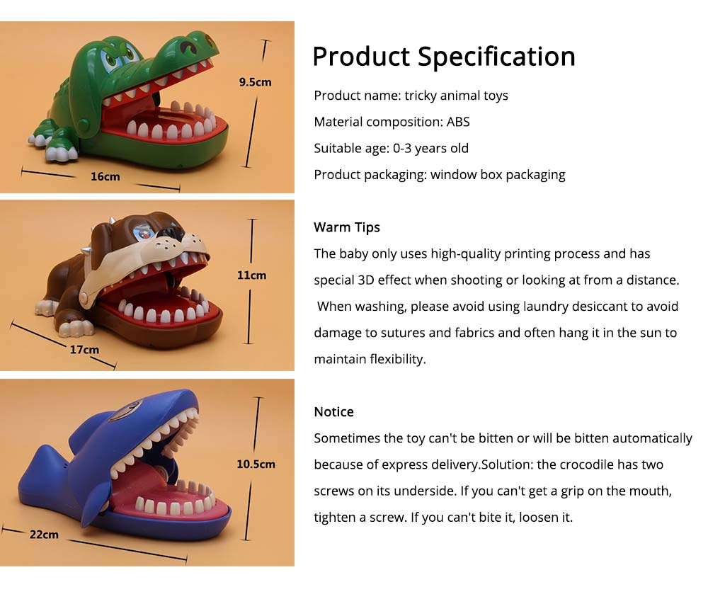 Small Tricky Animal Toys, Lifelike Teeth Finger Biting Toy with Lights and Sound Effects, Perfect Gift for Children 6
