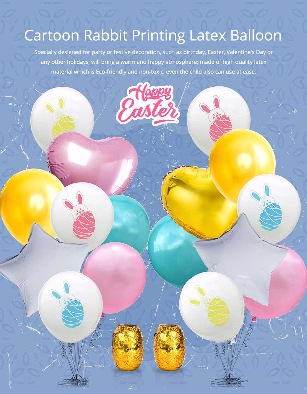 Cartoon Rabbit Printing Latex Balloon, Birthday Party Balloons with Ribbon for Festival Easter Decoration Single or Double Bunch 6