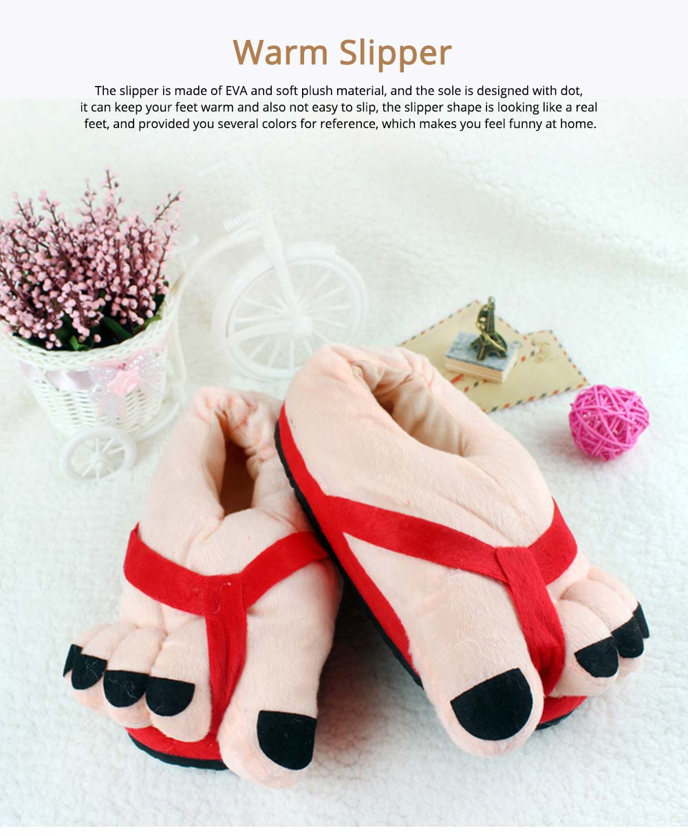 Warm Slipper Feet Shape April Fool's Day Gift for Boy Girl, Plush Material Comfortable Slipper Winter 0