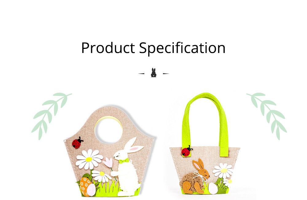 Easter Egg Bag Cartoon Rabbit Handbag Storage Bag, Single Shoulder Shopping Basket Bunny Printed Storage Bag 5