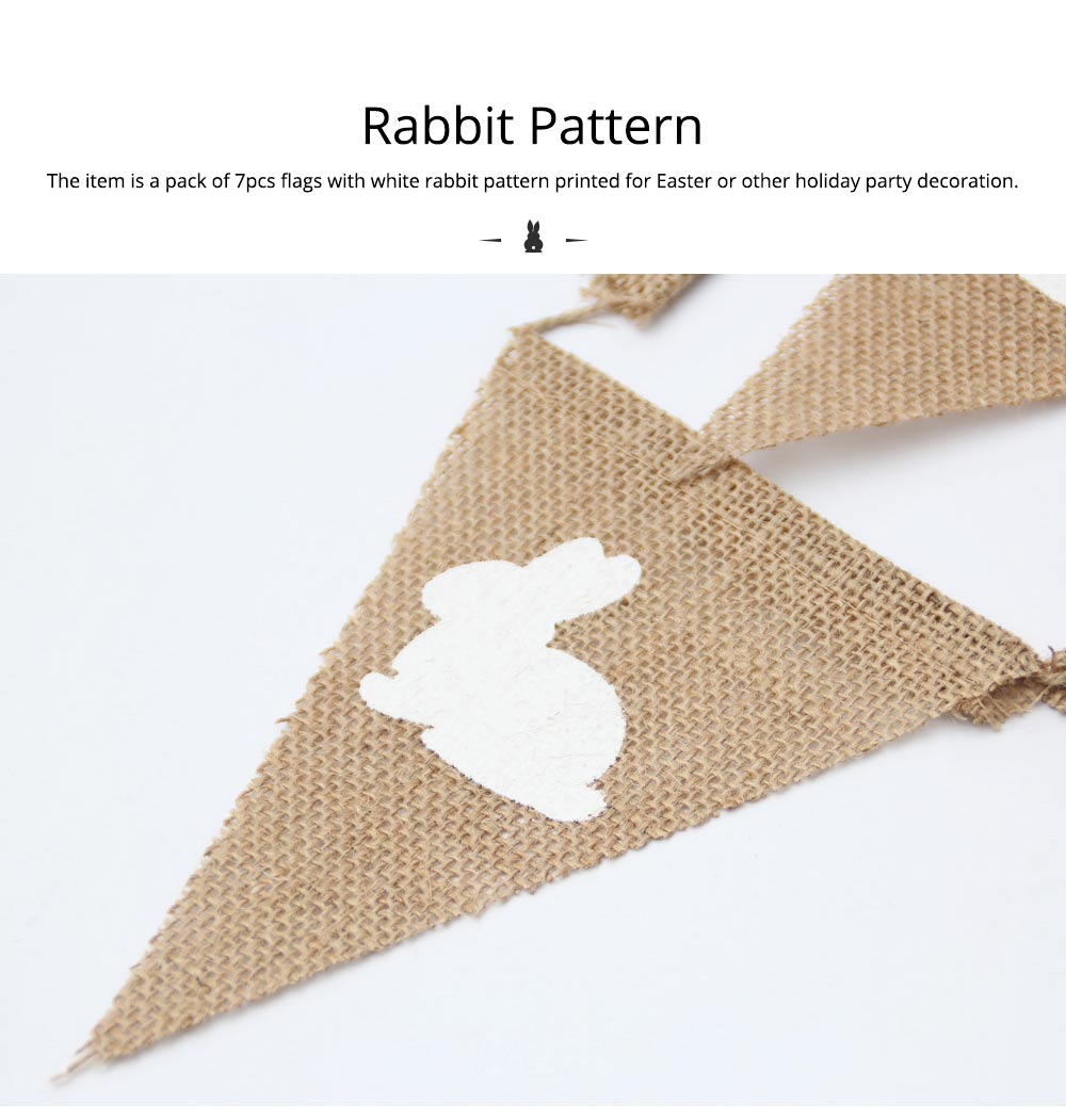 Rabbit Pattern Burlap Flags, Triangle Linen Banner for Easter or Festival Party Decoration 2