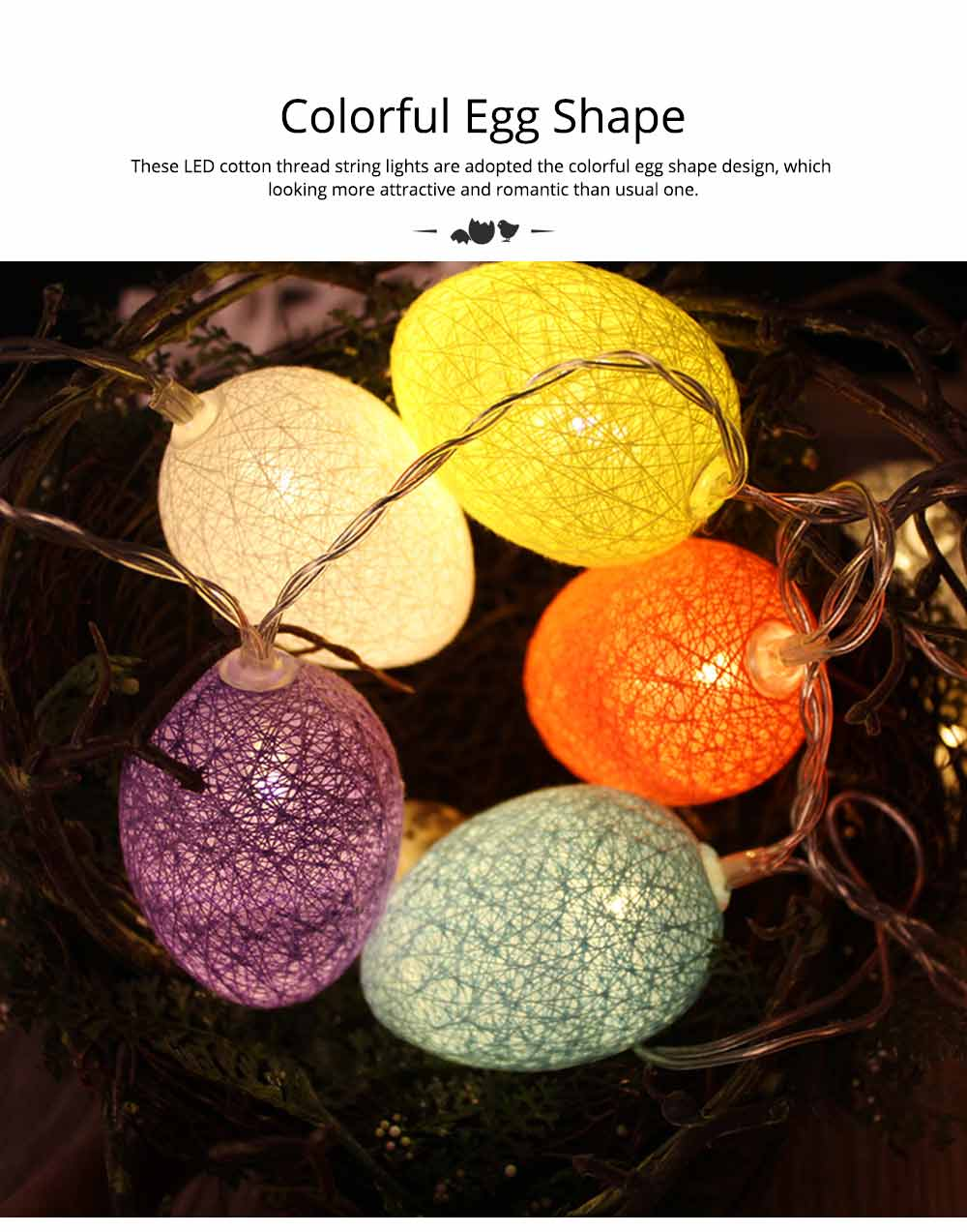 Easter Egg String Lights, Cotton Thread Battery Operated LED String Egg Lamp Home Party Decor 2