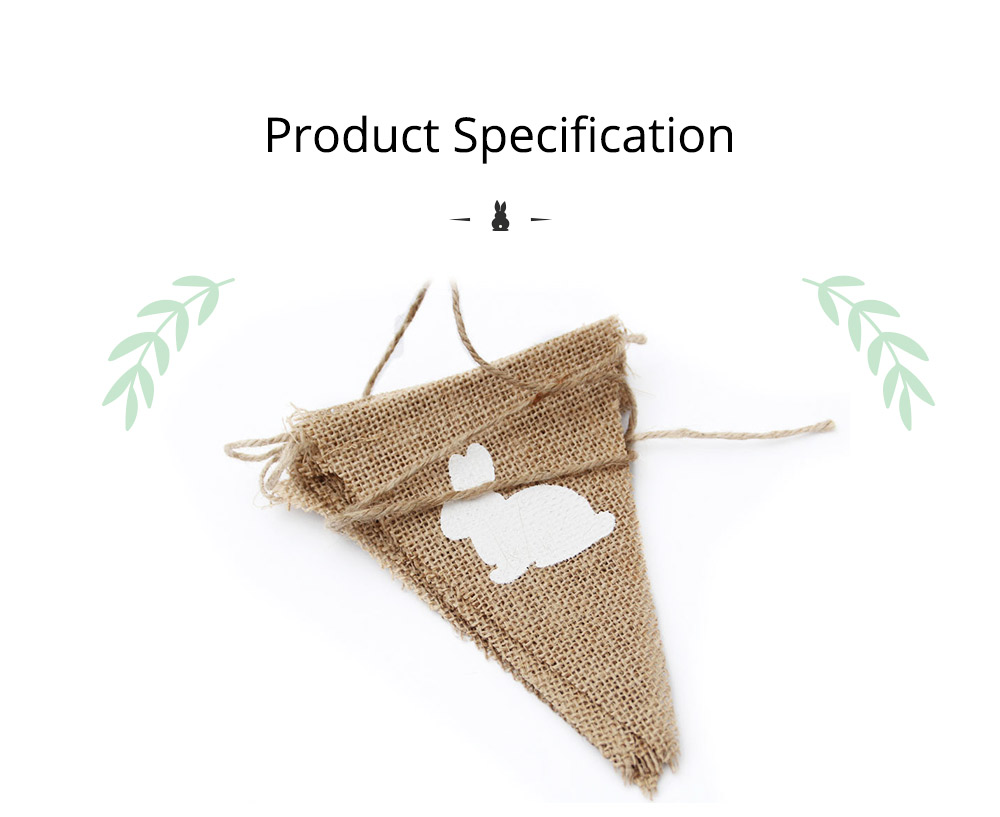 Rabbit Pattern Burlap Flags, Triangle Linen Banner for Easter or Festival Party Decoration 5