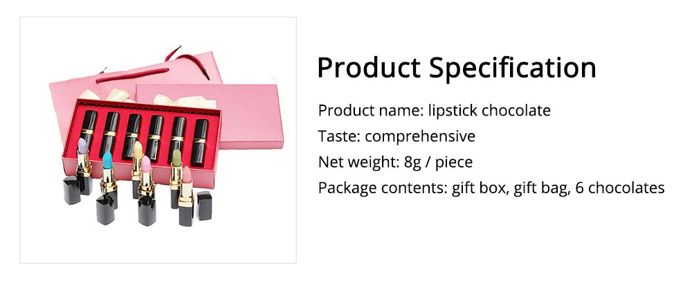 Chocolate Lipstick Shape Funny Gift for Girl, Women's Day Creative Sweet Candy April Fools Day Gift 6