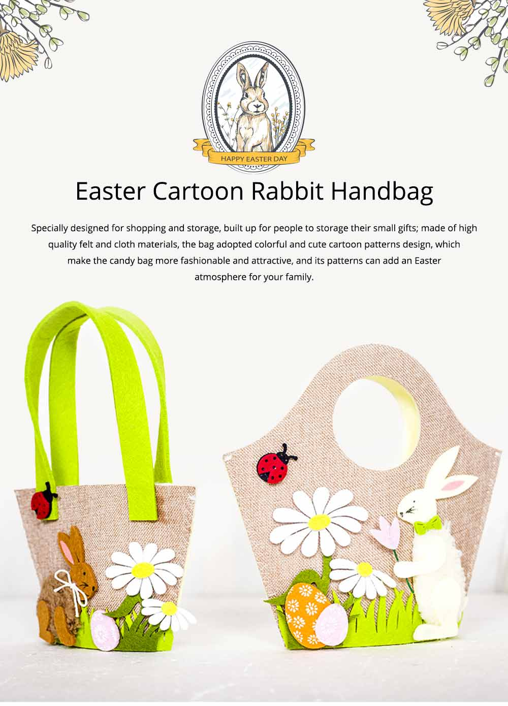 Easter Egg Bag Cartoon Rabbit Handbag Storage Bag, Single Shoulder Shopping Basket Bunny Printed Storage Bag 0