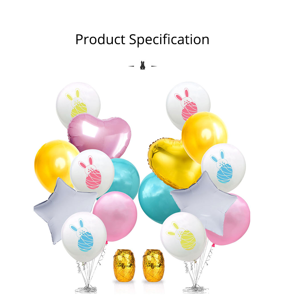 Cartoon Rabbit Printing Latex Balloon, Birthday Party Balloons with Ribbon for Festival Easter Decoration Single or Double Bunch 11