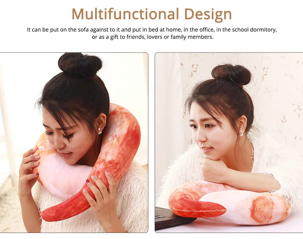 Imitation Shrimps & Croissant Pillow, Creative Birthday Gifts with Special 3D Effect, Printing Cotton Pillow 4