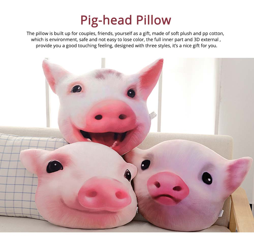 Pig-head Pillow Cute Shape Cushion, PP Short Plush Creative Bolster for Birthday Gift 0