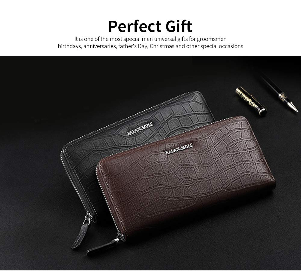 Business Casual Wallet with Metal LOGO, Double Zipper Leather Long Wallet with Large Capacity for Men 4