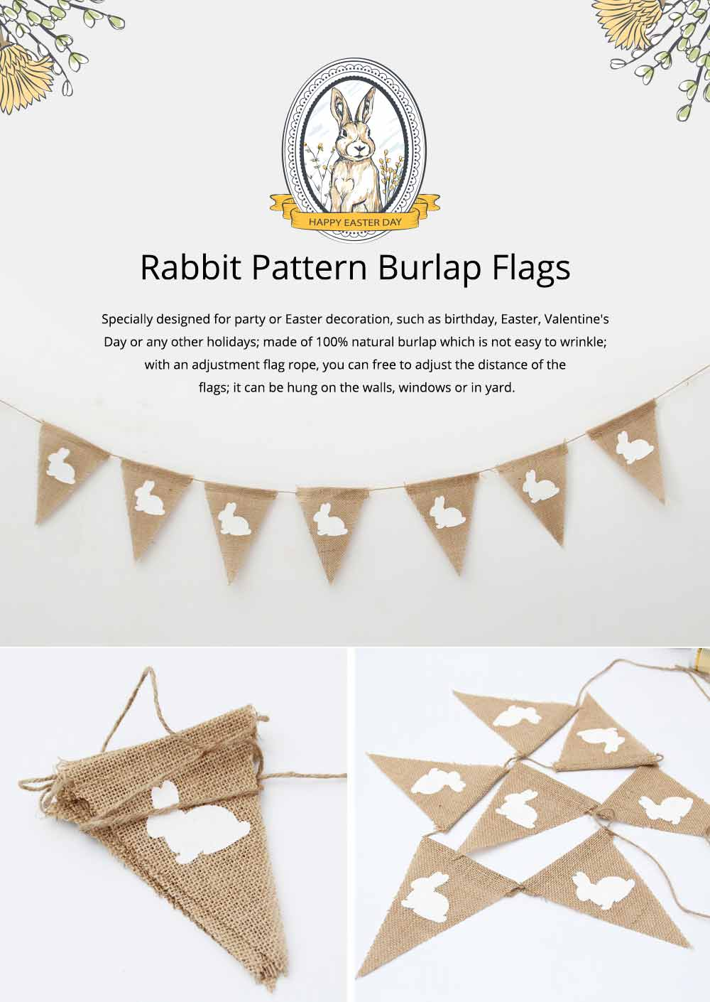 Rabbit Pattern Burlap Flags, Triangle Linen Banner for Easter or Festival Party Decoration 0