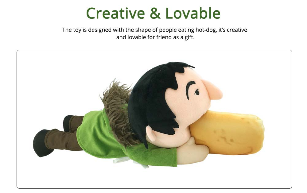 Toy People Eating Hot-dog Shape Popular Style Plush Gift Soft Pillow, League of Legends Products for April Fool's Day Gift 1