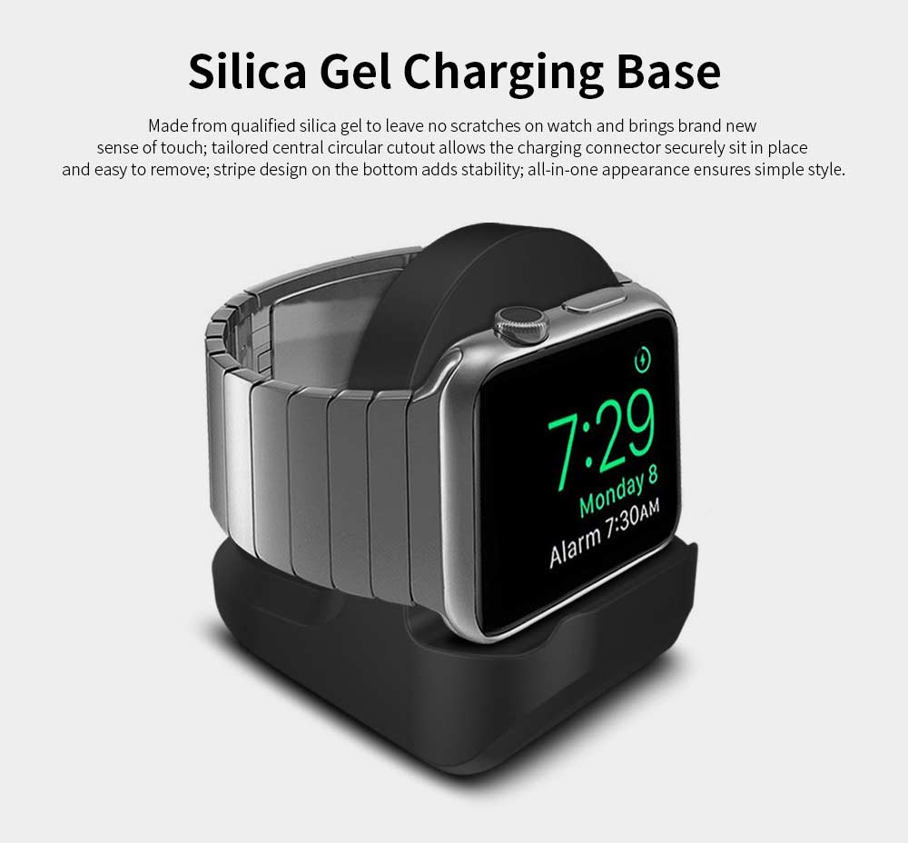 Silica Gel Charging Base for iWatch, Rubber Charging Supporter Power Charger Base for Apple Watch 1/2/3 Series 38/42mm 0