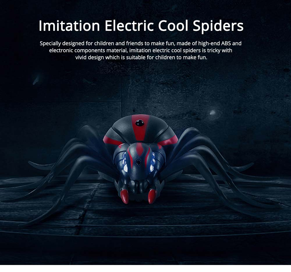 Imitation Electric Cool Spiders With Lighting Effects and Can Be Infrared Remote Control, Wacky Toy Same as Tik Tok 0