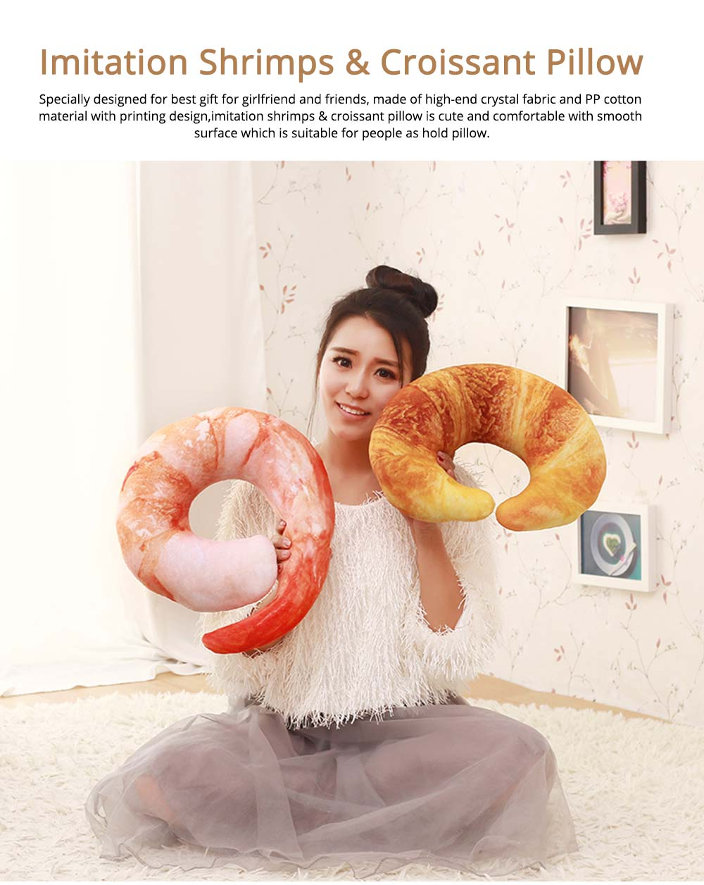 Imitation Shrimps & Croissant Pillow, Creative Birthday Gifts with Special 3D Effect, Printing Cotton Pillow 0
