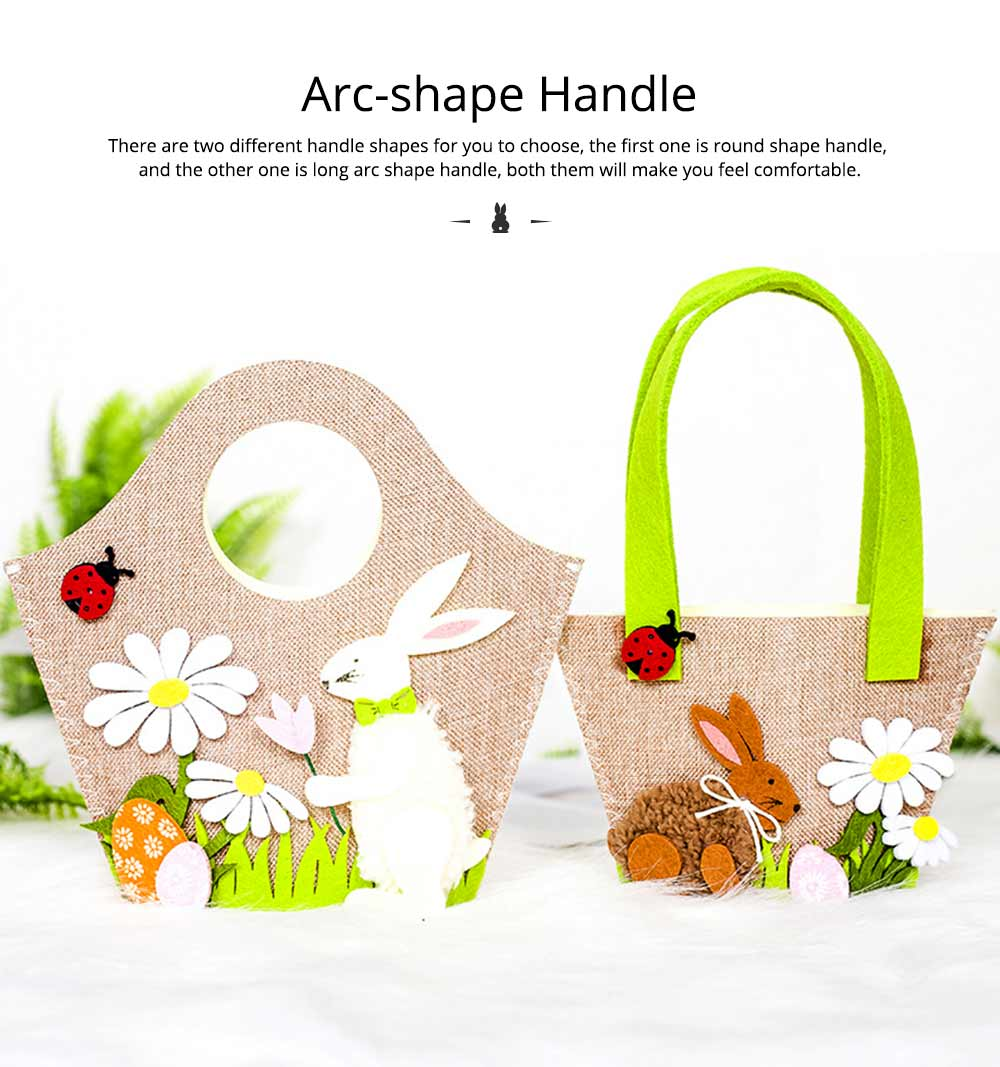 Easter Egg Bag Cartoon Rabbit Handbag Storage Bag, Single Shoulder Shopping Basket Bunny Printed Storage Bag 2