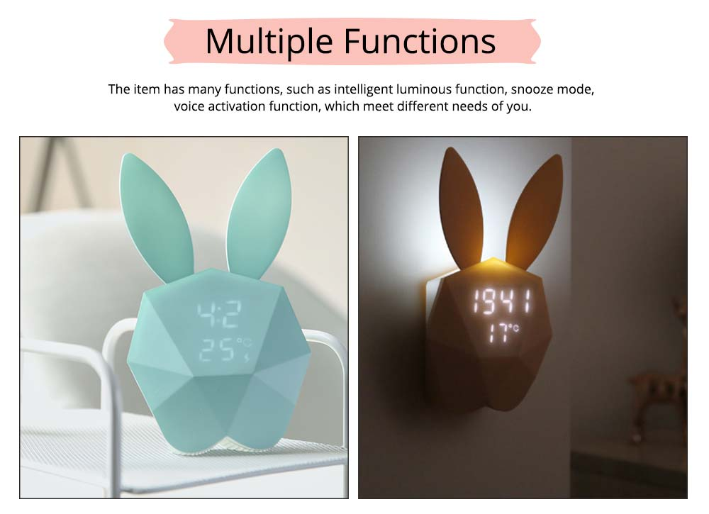 Creative Cute Rabbit Bunny Shaped Intelligent Digital Alarm Clock, Fashion Stylish Luminous Multifunctional Clock Watch with Magnet 2