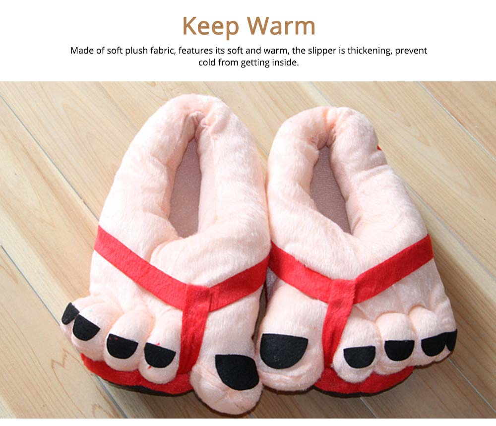 Warm Slipper Feet Shape April Fool's Day Gift for Boy Girl, Plush Material Comfortable Slipper Winter 2