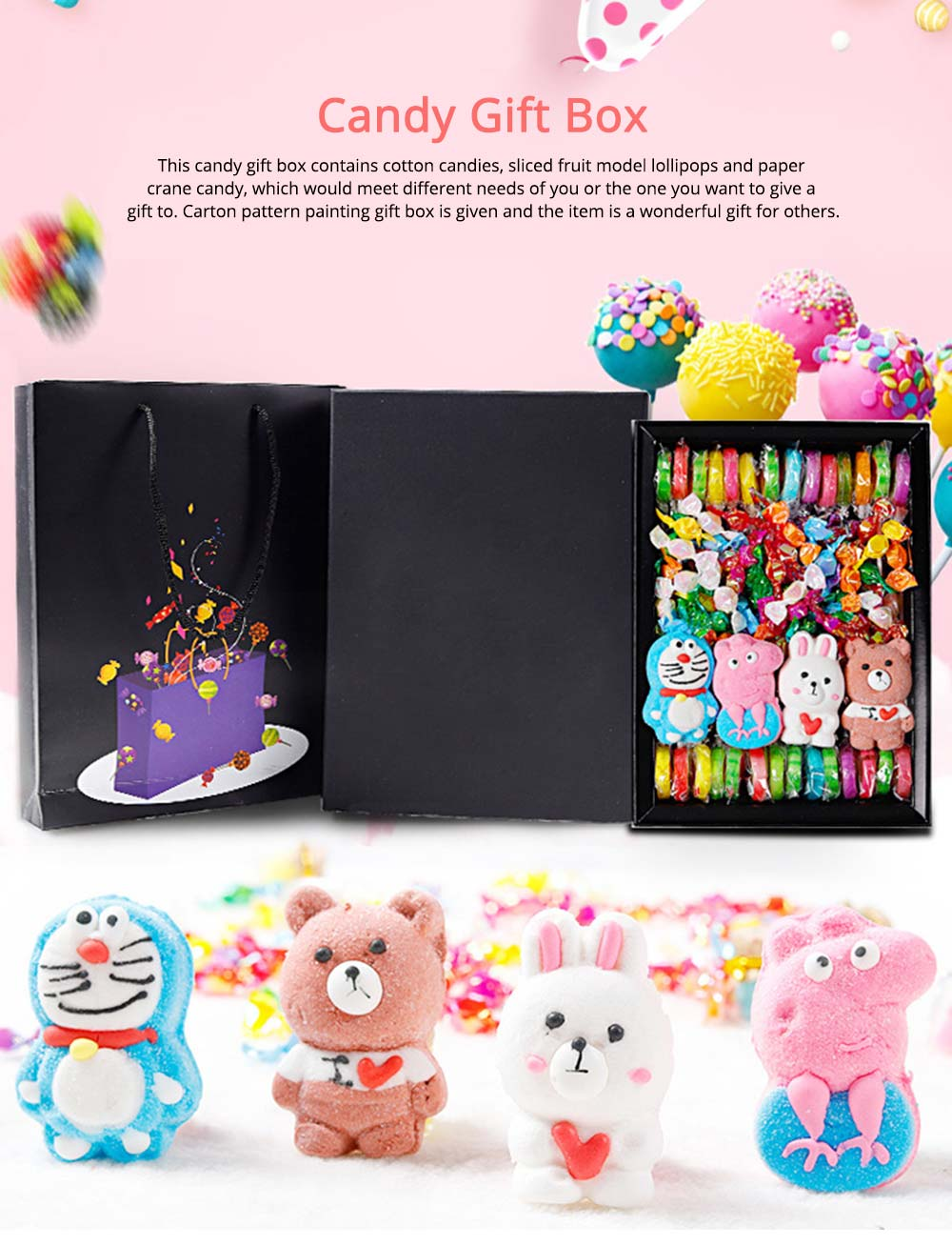 Cute Creative Candy Marshmallow Lollipop Gift Box for Children, Delicate Carton Painting Sticker Candy Present for Lovers Family 0