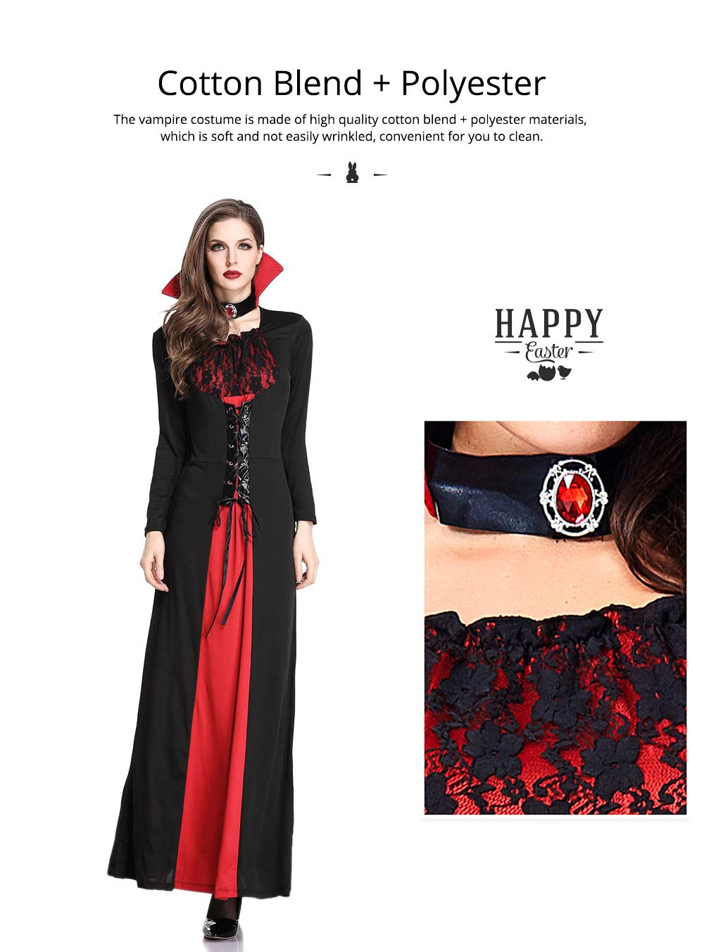 Vampire Costume, Queen Dress for Halloween Easter Christmas, Halloween Costume for Women Adult Cosplay Dress Role Playing Costume 1