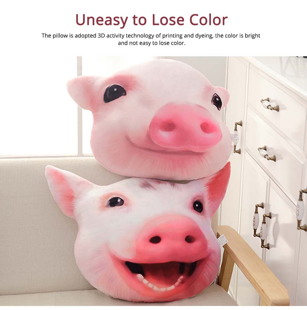 Pig-head Pillow Cute Shape Cushion, PP Short Plush Creative Bolster for Birthday Gift 5