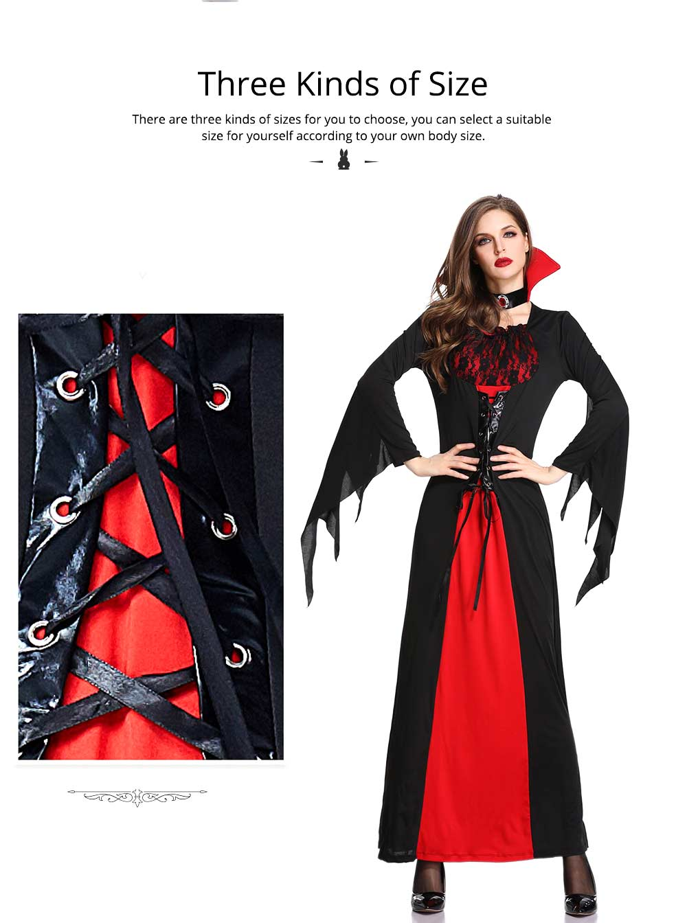 Vampire Costume, Queen Dress for Halloween Easter Christmas, Halloween Costume for Women Adult Cosplay Dress Role Playing Costume 2