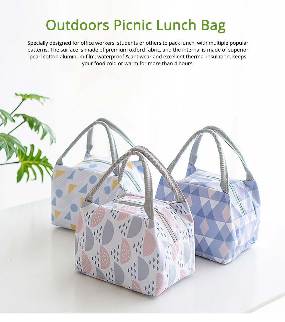 Outdoors Picnic Lunch Bag for Students, Office Workers, Portable Fresh Cooler Bag with Zipper 0