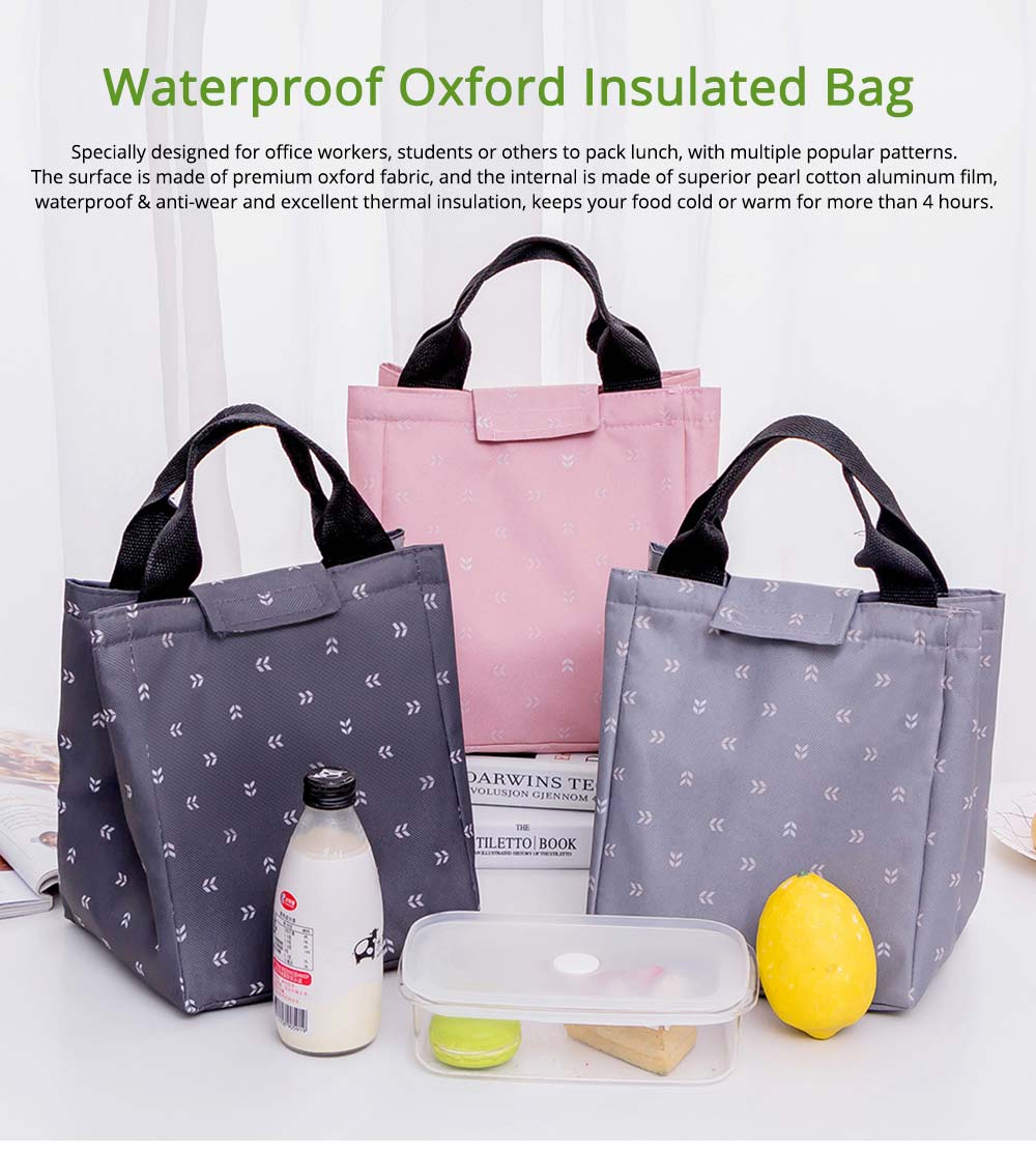 Waterproof Oxford Insulated Bag for Fruits, Foods, Picnic Foods, Reinforced Handle Fresh Cooler Lunch Bag with Smooth Zipper 0