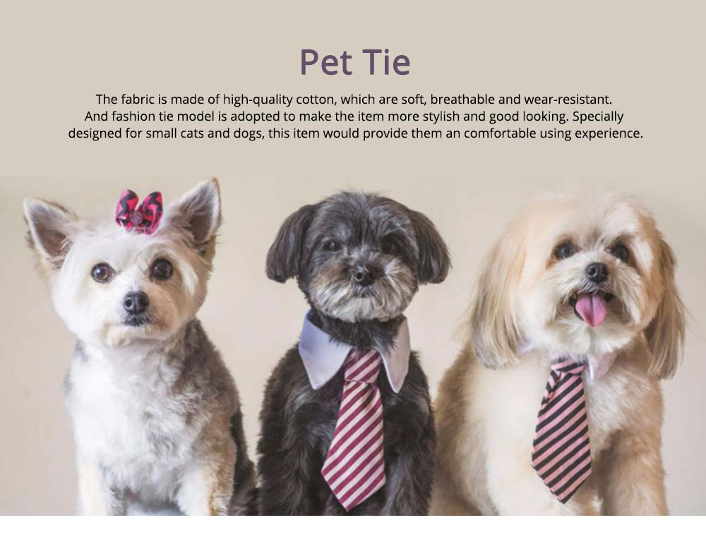 Fashion Ultrasoft Cotton Checked Business Pet Tie, Breathable Wearable Tie Scarf Costume Decoration for Small Pets 0