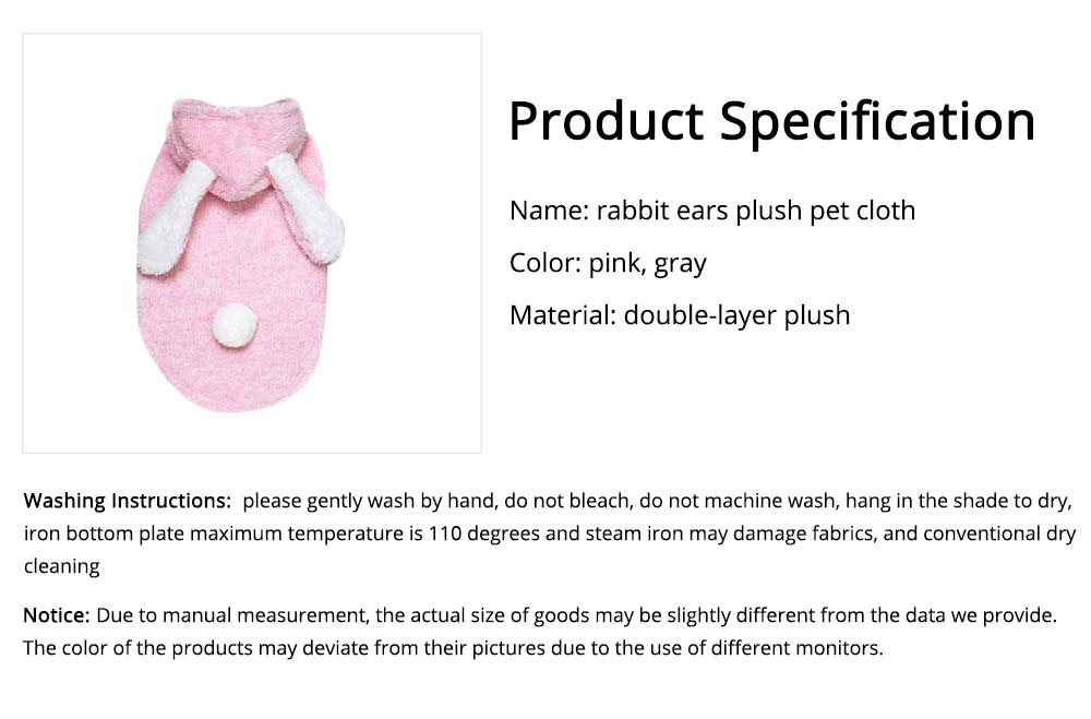 Plush Cats Two-feet Pet Clothes, Cute Rabbit Ears Model, Stylish Pet Clothes Costume Apparel 6
