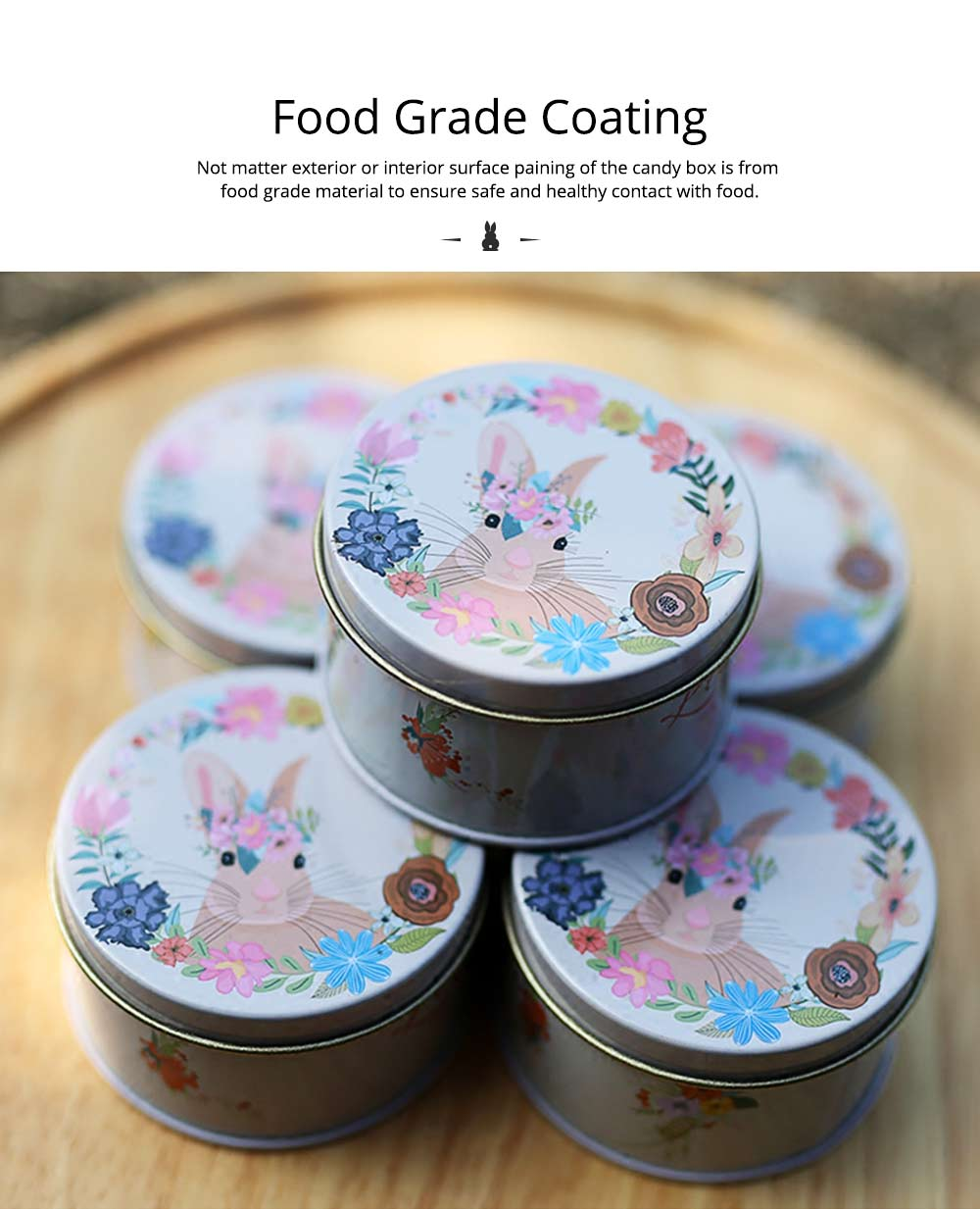 Round Tinplate Candy Box for Weddings, Creative Candy Box of Lovely Rabbit Printings Storage Box Bonbon Box Gift Box 4
