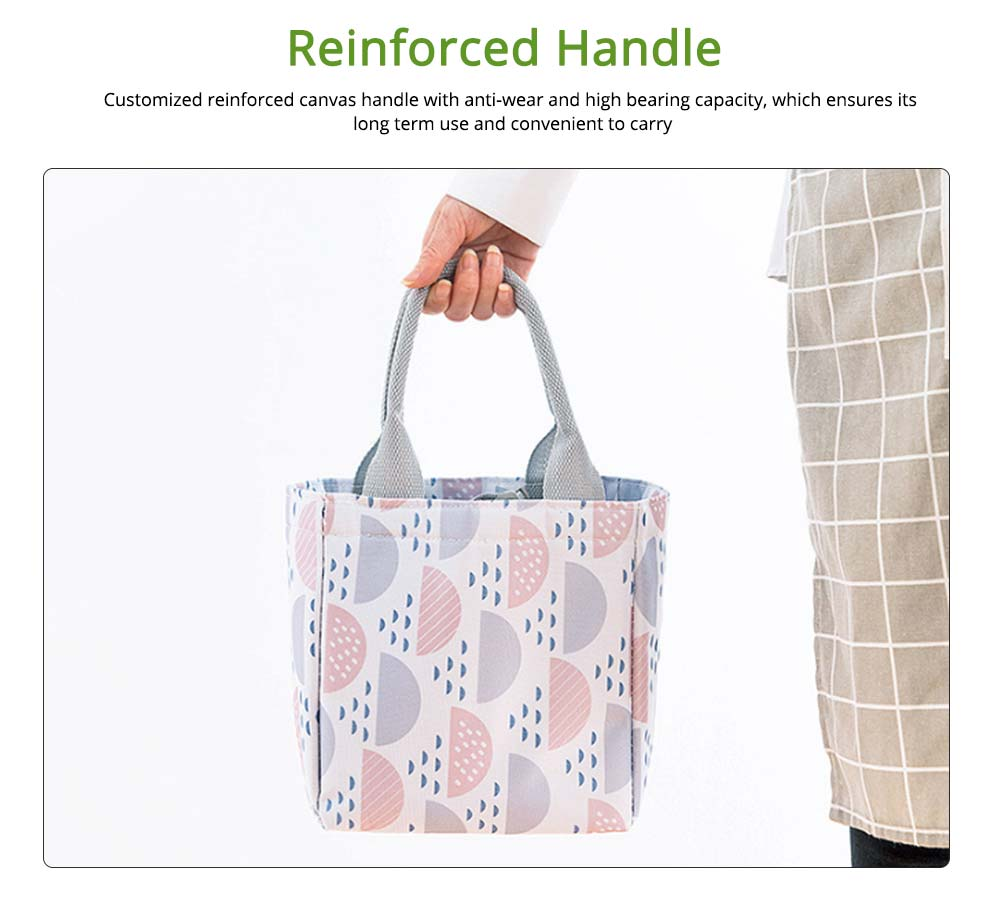 Geometric Printed Insulated Bag with Drawsting Sealing, Portable Cooler Picnic Bag for Packing Fruits, Vegetables, Foods  5