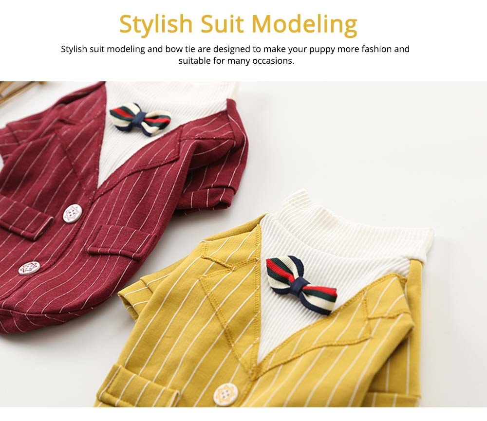 Creative Checked Gentleman Suit Miniature Pet Clothes, Stylish Small Dog Pet Clothes Formal Costume Apparel with Bow Tie 5