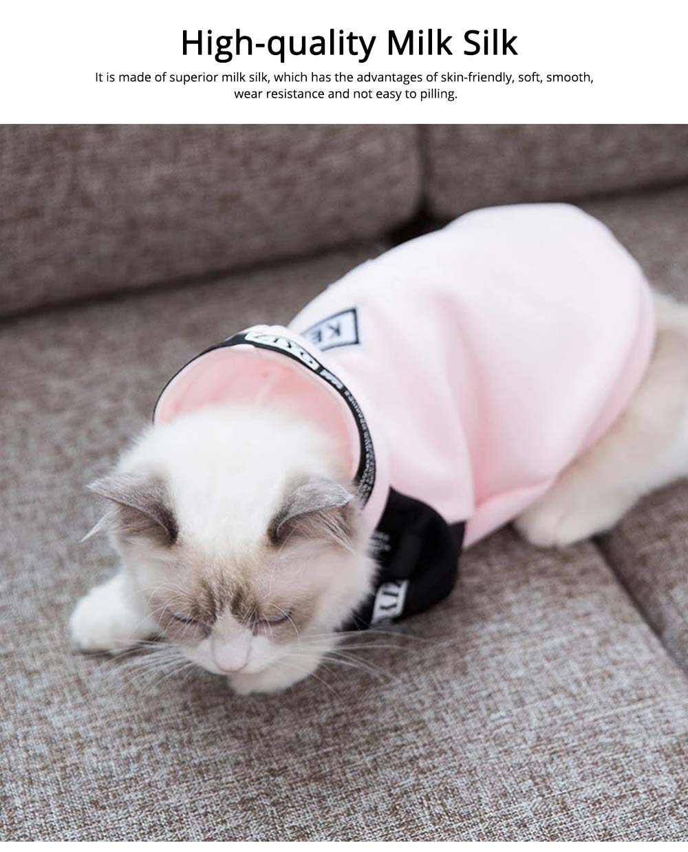Milk Silk Cats Two-feet Pet Clothes, Stylish Pet Clothes Costume Apparel with Fashion Athletic Tape Especially for Cats, Skin Friendly  1