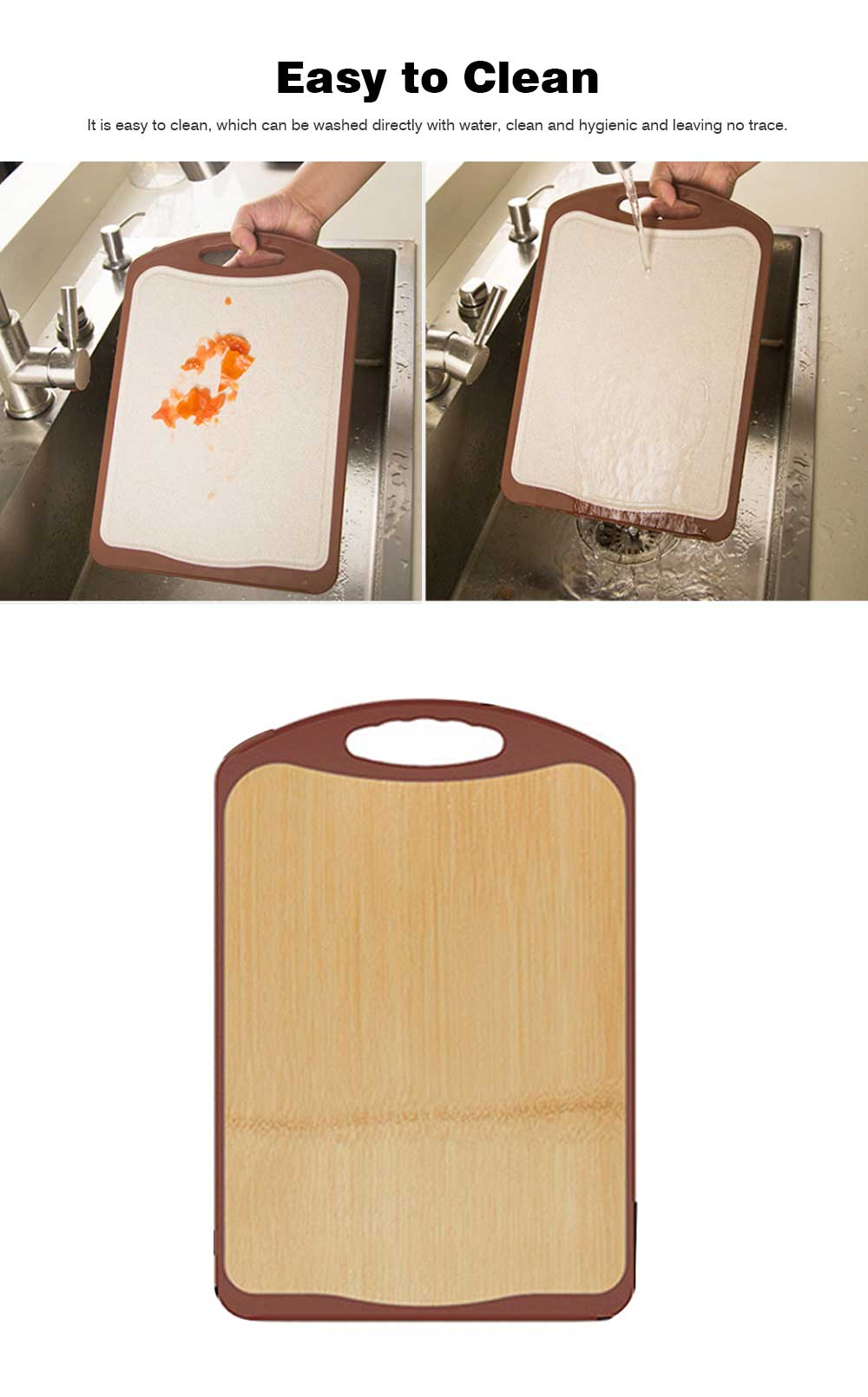 Whole Bamboo Fiber Composite Cutting Board, Healthy Non-slip Cutting Board for Cutting Cooked Food, Vegetables, Fruits 1