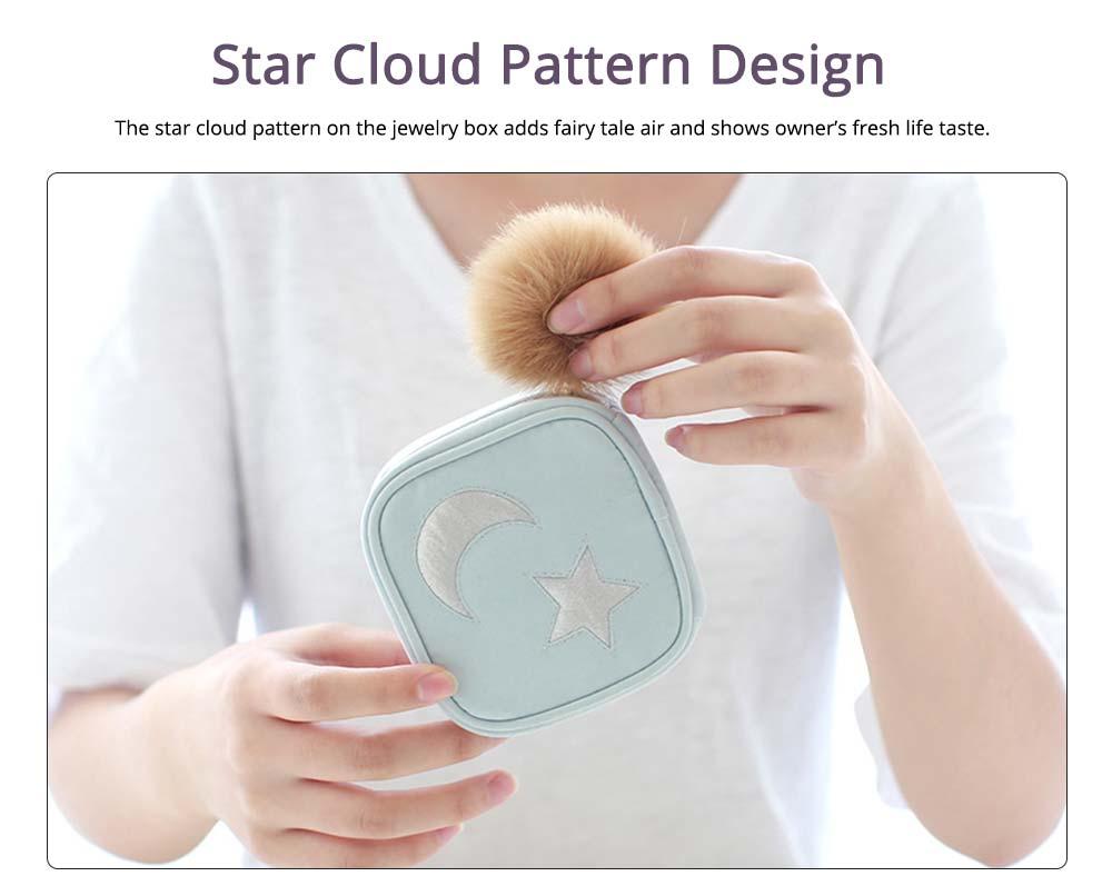 Star Cloud Jewelry Box for Jewelries Storage, Pompon Plus Zipper Style Portable Square Jewelry Storage Box 1