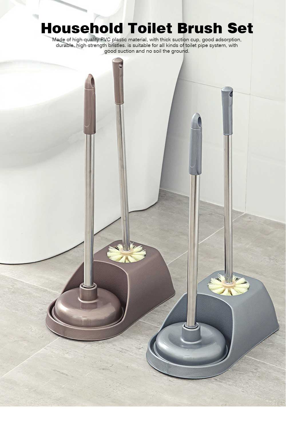 Household Toilet Brush Set, Powerful Brush Set for Cleaning Toilet 0