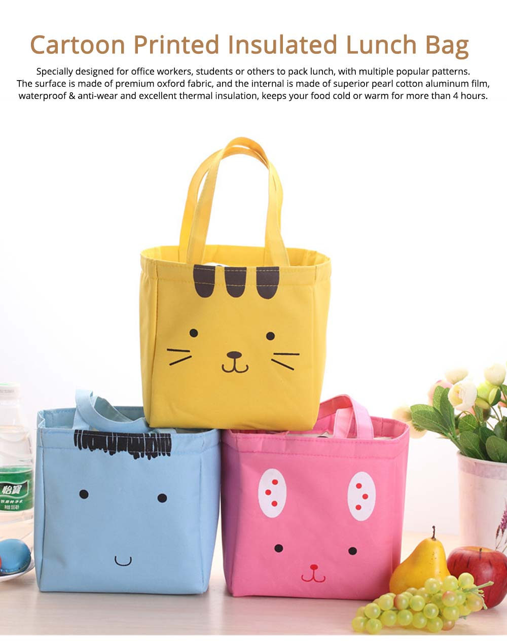 Cartoon Printed Insulated Lunch Bag with Drawsting Sealing, Thermal Insulation Cooler Function Bag for Students Office Workers 0
