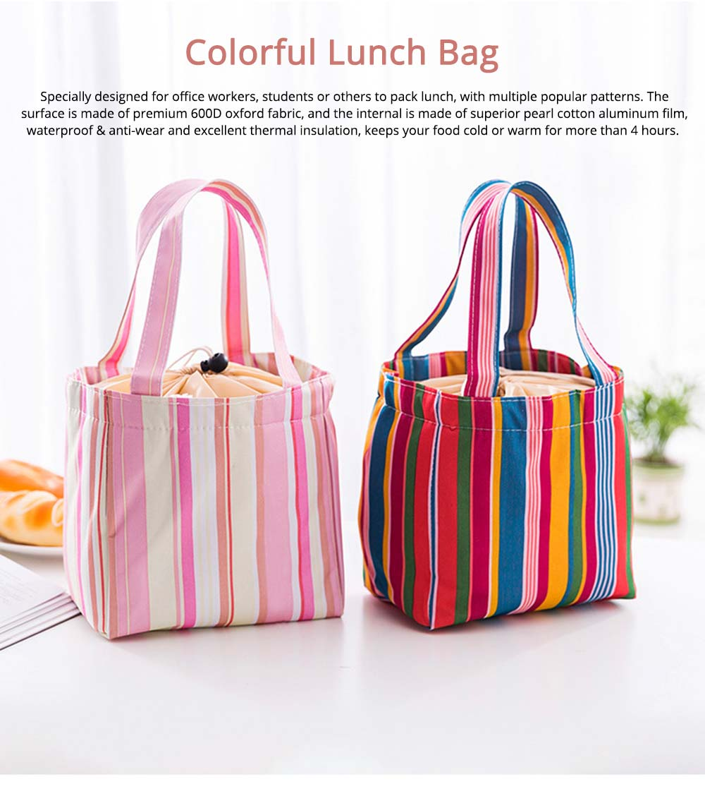 Colorful Lunch Bag with Thermal Insulation for Packing Foods, Fruits, Anti-wear Oxford Thermal Insulation Bag with Reinforced Handle 0